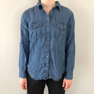 Ann Taylor Chambray Roll Sleeve Button Down Blouse